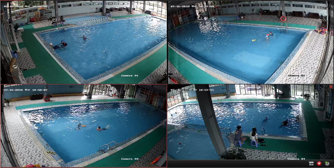 Demo Lắp đặt camera Bình Phước khu hồ bơi